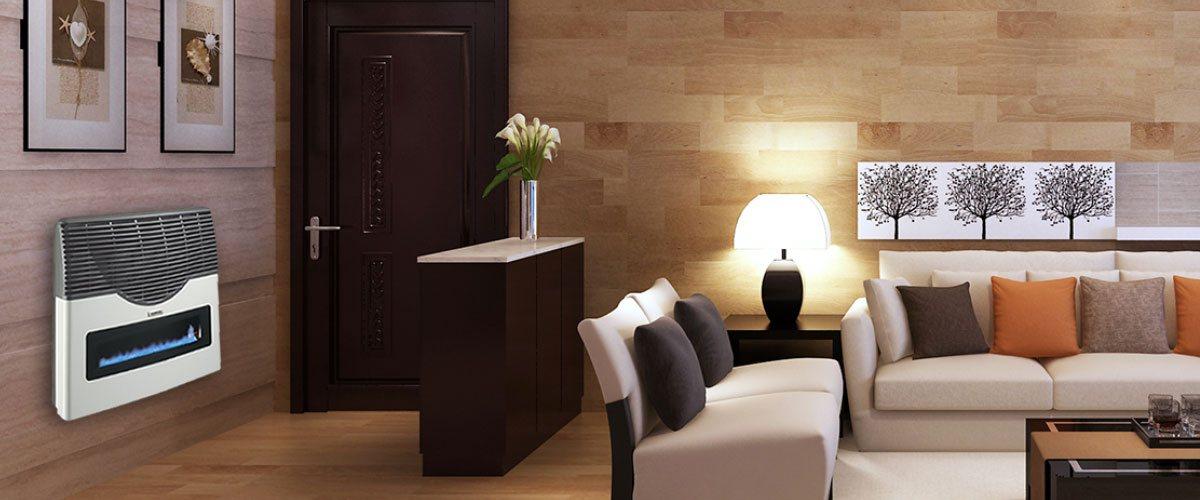 imagen de una sala moderna siendo calentada por un calefactor a gas longvie