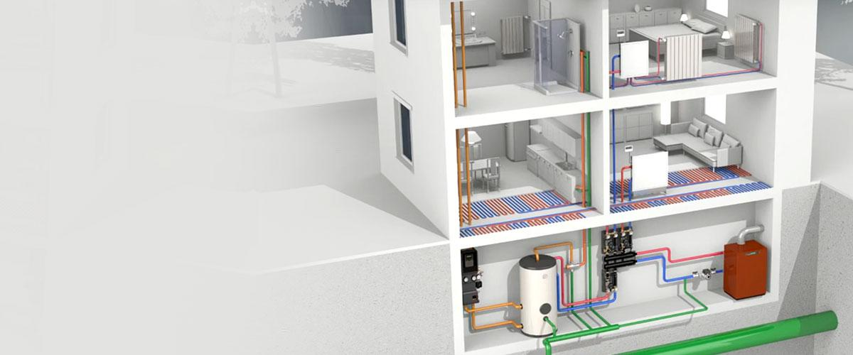 imagen de un driagrama que muestra un sistema de tuberías, caldera y radiadores para calefacción hidrónica residencial